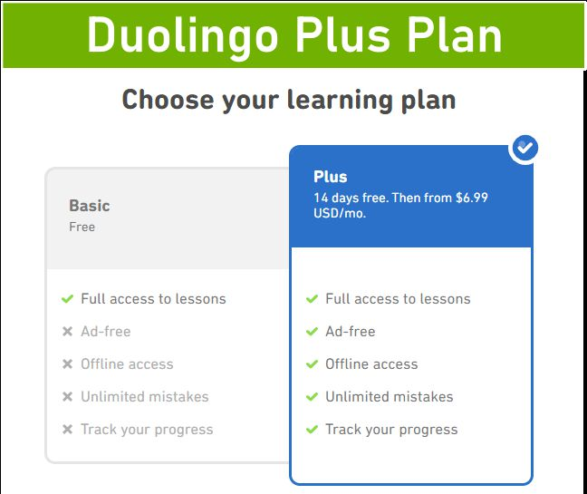 Duolingo Plus plan