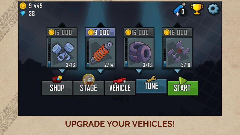 Hill Climb Racing upgrade vehicles