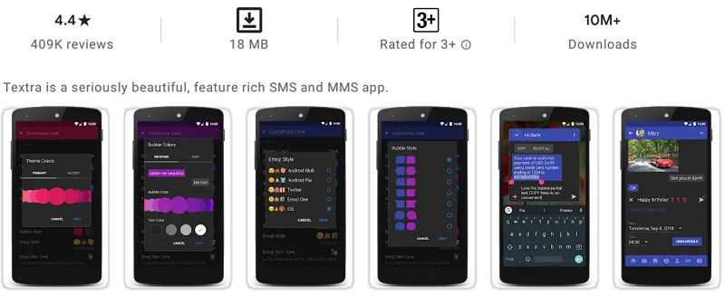 Textra SMS-features