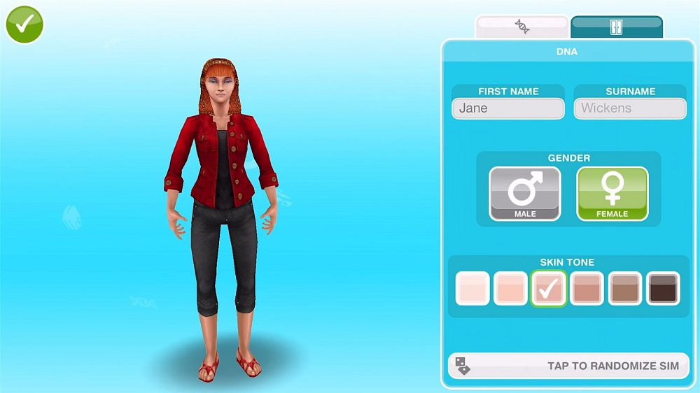The Sims Freeplay create the sims